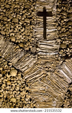 Skull and bones in the Chapel of Bones in Evora, Portugal  - stock photo