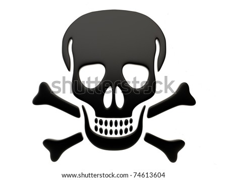 skull and bones isolated on a white background - stock photo