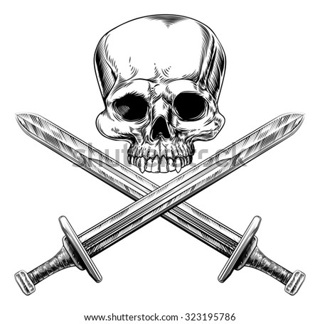Skull and cross swords pirate sign in a vintage woodblock style - stock photo