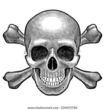 Skull and crossbones figure. Illustration on white background. - stock photo