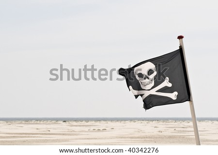 skull and crossbones flag - stock photo