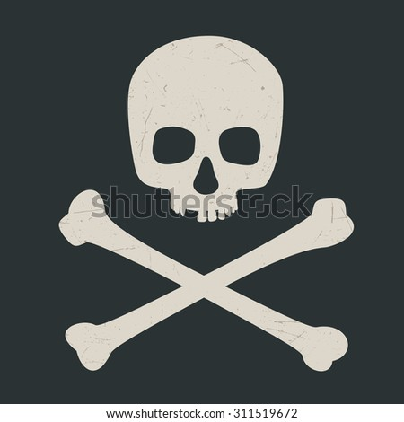 Skull and crossbones on dark background. Raster version - stock photo