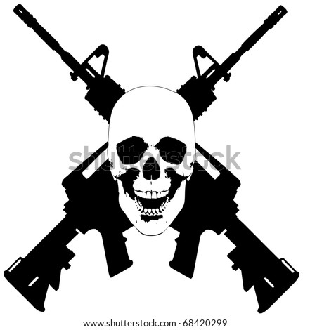 Skull and Guns - vector illustration. could be used for a tattoo.