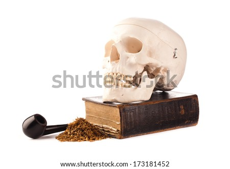 skull and pipe tobacco - stock photo