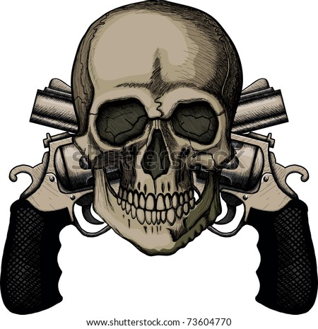 Skull and two crossed revolvers. The illustration on white background. Raster version - stock photo