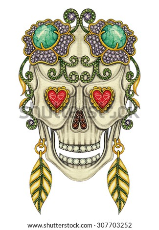 Skull art day of the dead. Hand drawing and color painting on paper. - stock photo