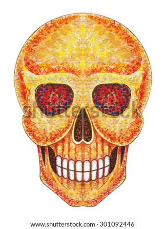 Skull art . Hand color painting on paper. - stock photo