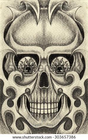 Skull art  tattoo.Hand pencil drawing on paper. - stock photo