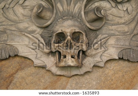 Skull at the Durham cathedral - stock photo