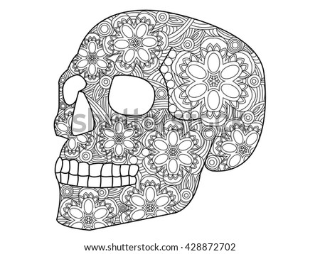 Skull Coloring Book For Adults Raster Illustration Anti Stress Adult Zentangle