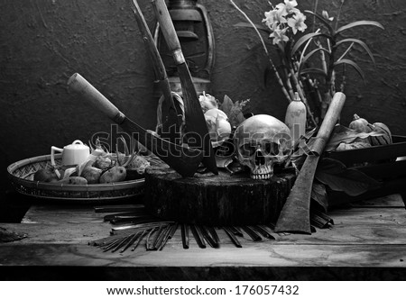 Skull concept on agriculture black and white version - stock photo
