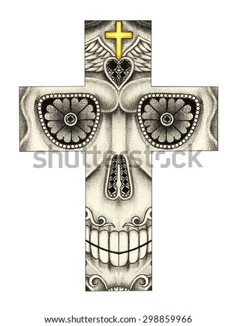 Skull cross day of the dead.Hand pencil drawing on paper. - stock photo