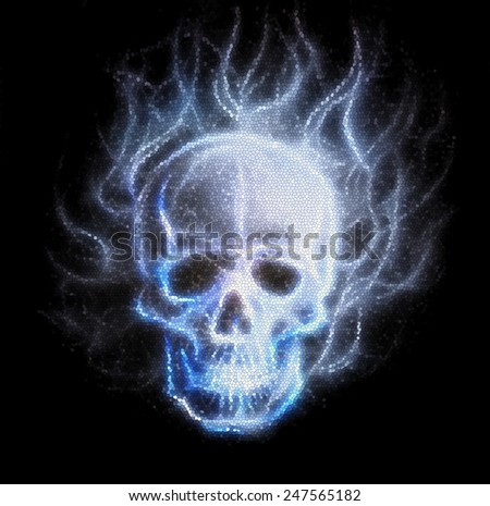 Skull fractal ornament background with airbrush color painting  - stock photo