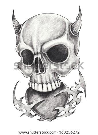 Skull heart devil tattoo.Hand pencil drawing on paper. - stock photo