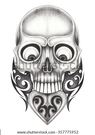 Skull heart tattoo .Hand pencil drawing on paper.  - stock photo