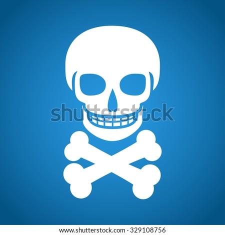 Skull icon isolated. Flat design style  - stock photo
