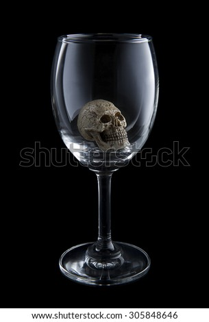 Skull in a glass of wine.