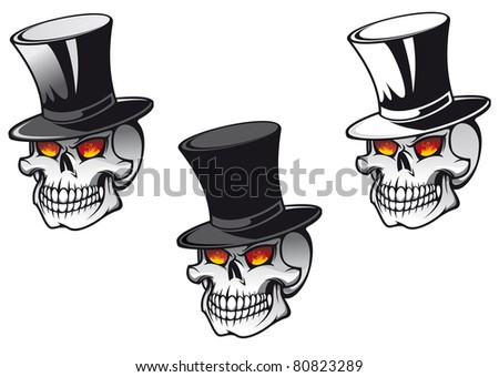 Skull in black hat for tattoo design. Vector version also available in gallery - stock photo
