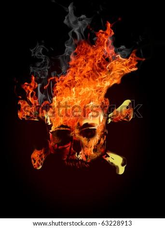 Fire skull Stock Photos, Illustrations, and Vector Art