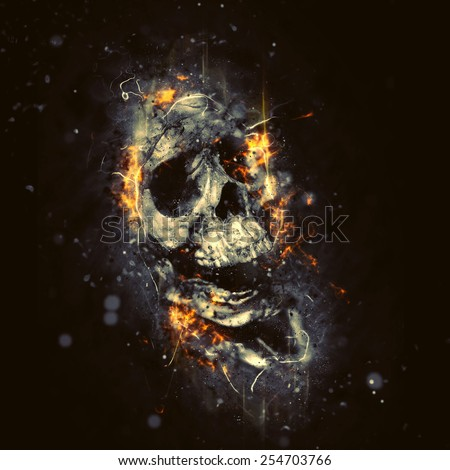 Skull in flames, horror or Halloween concept - stock photo
