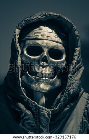 skull in halloween (dark & grey) - stock photo