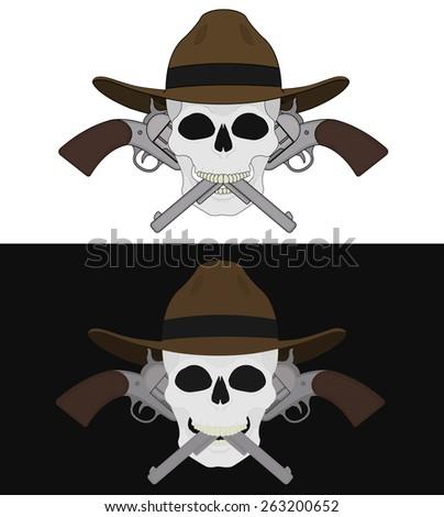 Skull in hat 2 crossed pistols emblem. Raster clip art illustration isolated on white and black - stock photo