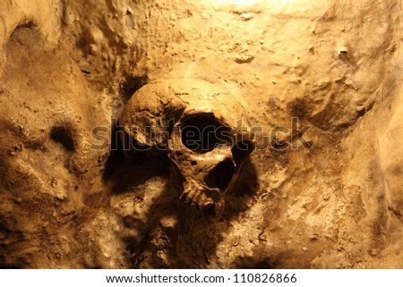 Skull inside of the St. Michales Cave in Gibraltar - stock photo