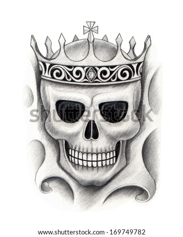 Skull king tattoo.Hand drawing on paper. - stock photo