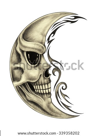 Skull moon tattoo.Hand pencil drawing on paper. - stock photo