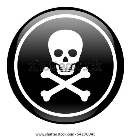 Skull On Button - stock photo