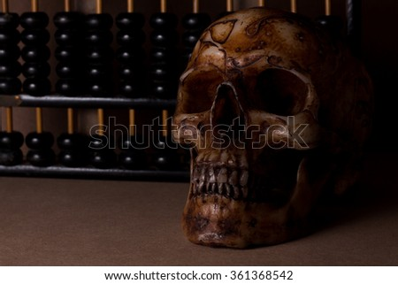skull on old wood in still life style