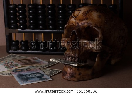 skull on old wood with banknote yuan and dollar in still life style