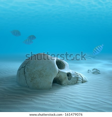 Skull on sandy ocean bottom with small fish cleaning some bones ( 3d render with slight differential focus) - stock photo