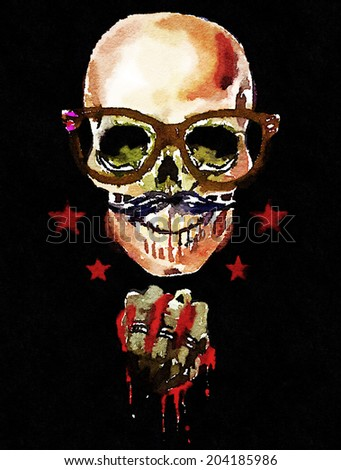 skull pattern / rock and roll poster design / T-shirt graphics / watercolor illustration of a skull / lord of darkness / illustration of the evil spirit / skull poster - stock photo