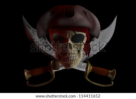 Skull pirate hat with crossed knives - stock photo