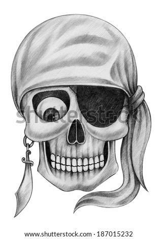 Skull pirate tattoo. Hand drawing on paper. - stock photo