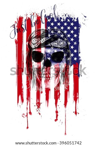 skull print/Rock star/Human skull on isolated white background/T-shirt Graphics/American flag drawing