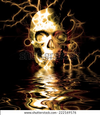 Skull Reflection - stock photo