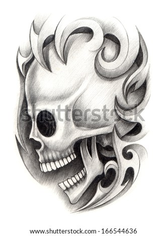 Tribal skull stock photos images pictures shutterstock for Drawing tattoos on paper