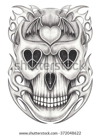 Skull tattoo .Hand pencil drawing on paper. - stock photo