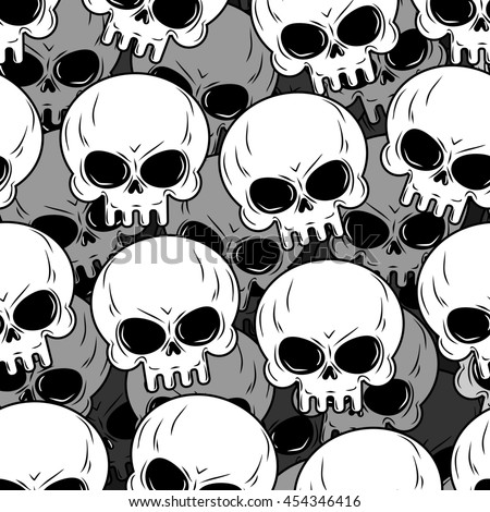 Skull texture. Skeleton head lot. Background of skulls. Ornament for Halloween. - stock photo