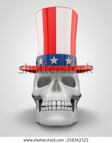 Skull Wearing Uncle Sam Hat - stock photo