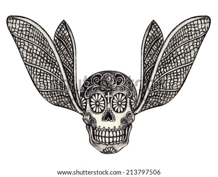 Skull wing tattoo. Hand drawing on paper. - stock photo