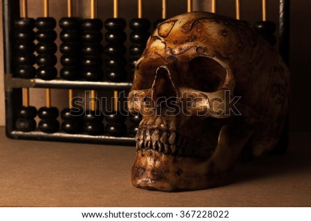 skull with abacus background and business still life