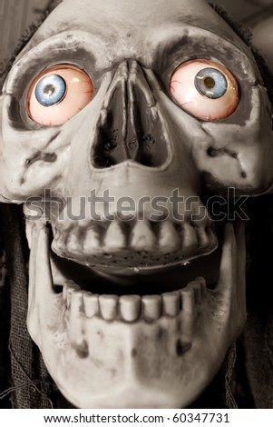 Skull with colorful eyes (desaturated for stronger effect) - stock photo