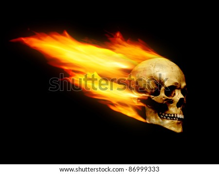 Skull with flame trail over black background