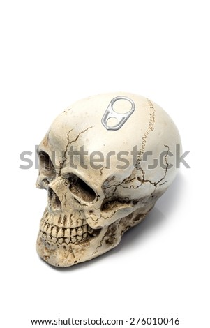 skull with Metal ring pull isolated on white background - stock photo