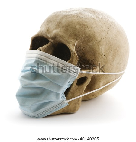 skull with protective medicine mask on white background - stock photo