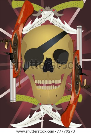 Skull with the crossed knifes and pistols, raster illustration. - stock photo