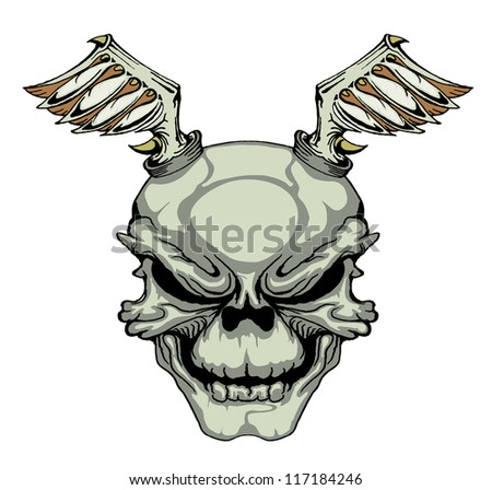 Skull with wings on white color - stock photo